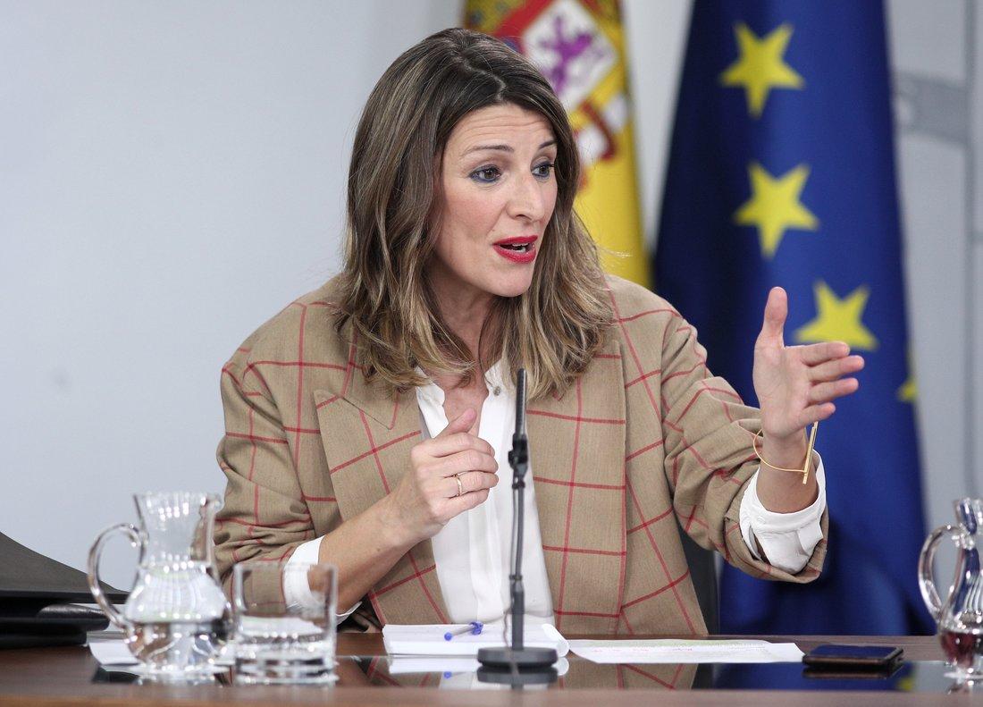 La ministra de Trabajo, Yolanda Díaz, en una rueda de prensa tras el Consejo de Ministros.