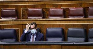 15/10/2020 El ministro de Sanidad, Salvador Illa, durante en una sesión plenaria en el Congreso de los Diputados, en Madrid, (España), a 15 de octubre de 2020. Esta sesión se centrará, entre otras cuestiones, en explicar el estado de alarma decretado en Madrid por la crisis sanitaria del Covid-19.