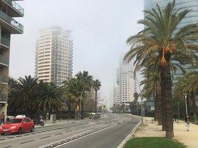 Niebla y humo en el Fòrum, este mediodía.