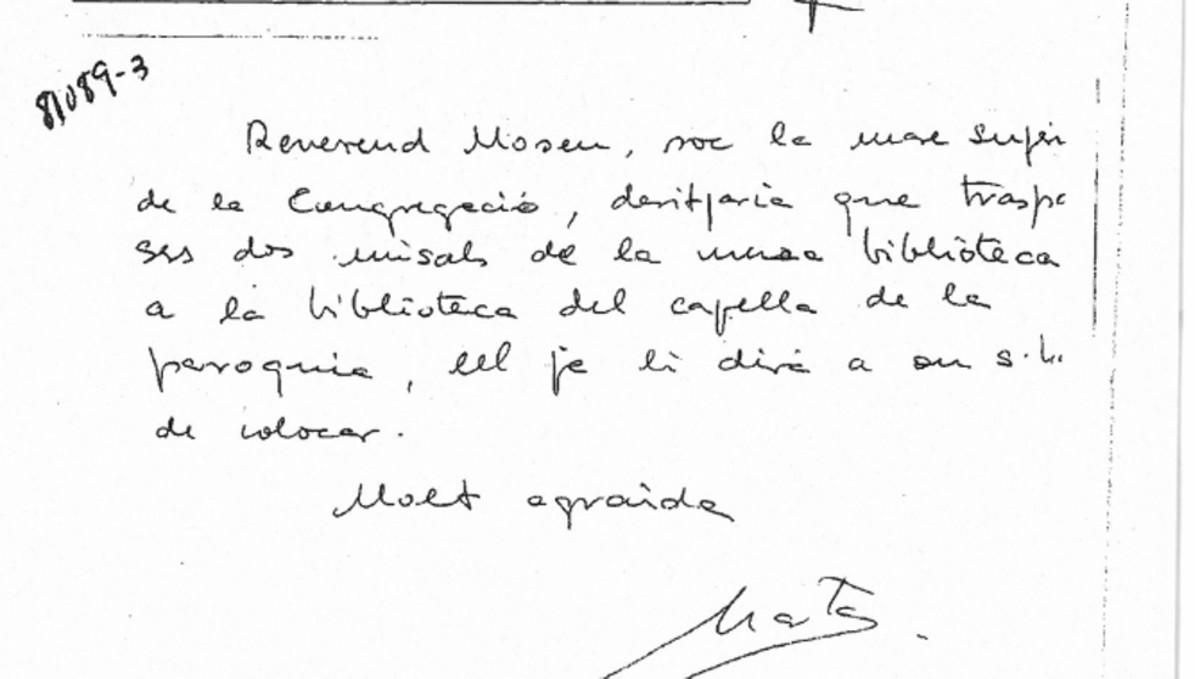 Nota manuscrita de Marta Ferrusola, en la que se identifica como madre superiora.