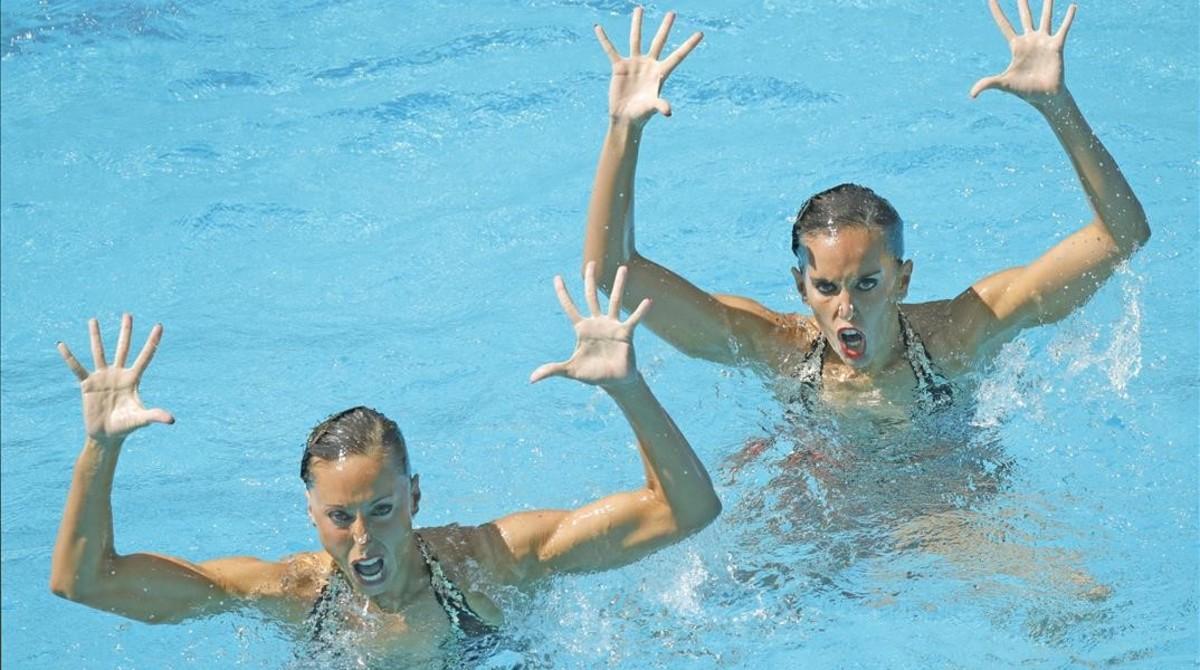 Ona Carbonell y Gemma Mengual, durante su actuación en la ronda preliminar