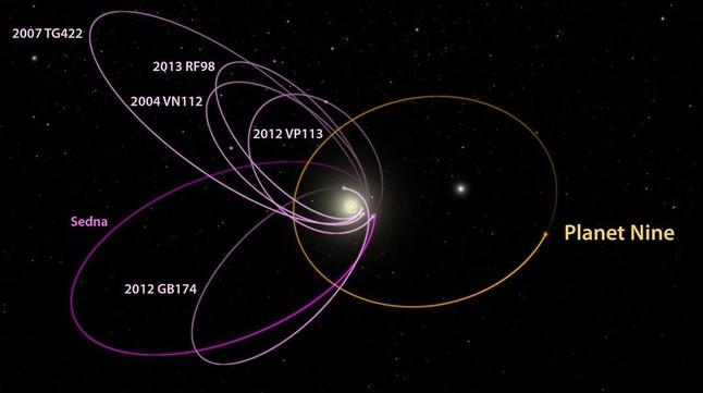 Orbita estimada del supuesto planeta nueve o noveno planeta del sistema solar,junto a la de otros objetos del cinturon de Kuiper.
