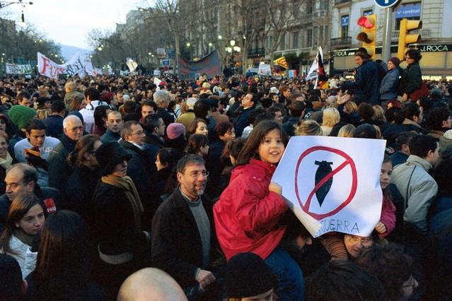 Manifestación contra la guerra en Barcelona.