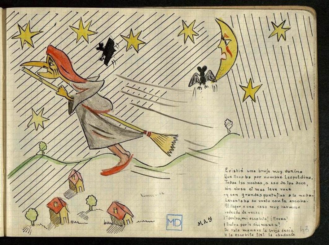 Página de 'La bruja Leopoldina', cuento inédito de Delibes y publicado por la editorial Destino.