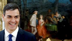 Pedro Sánchez, en el palacio de la Zarzuela, este jueves.