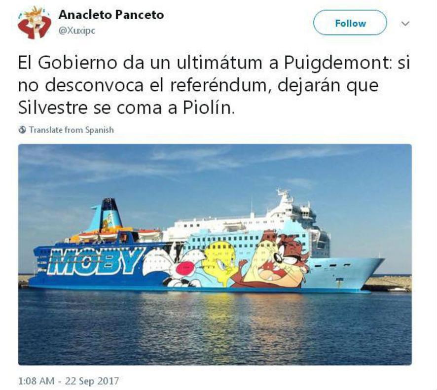 Twitter se ríe del barco de Piolín que Interior ha mandado a Catalunya