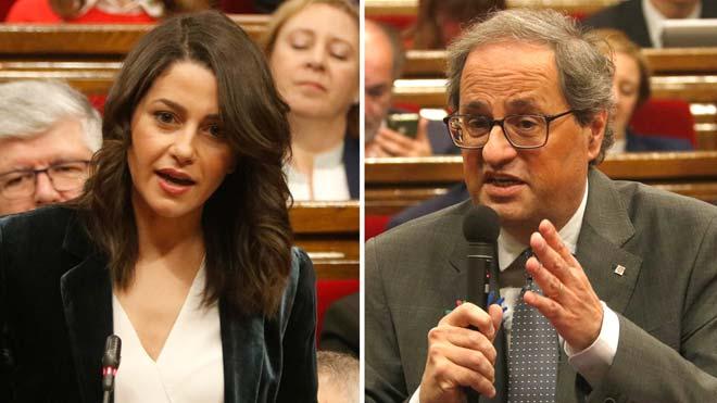 Pique entre Torra y Arrimadas en el Parlament por los políticos presos.