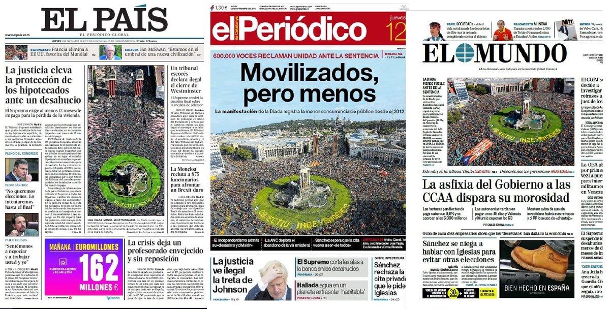 Prensa de hoy: Las portadas de los periódicos del jueves 12 de septiembre del 2019