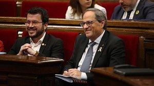 El 'president' Quim Torra y el vicepresidente Pere Aragonès, en el Parlament