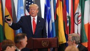 El presidente de EEUU, Donald Trump, durante una rueda de prensa en la ONU, este martes.