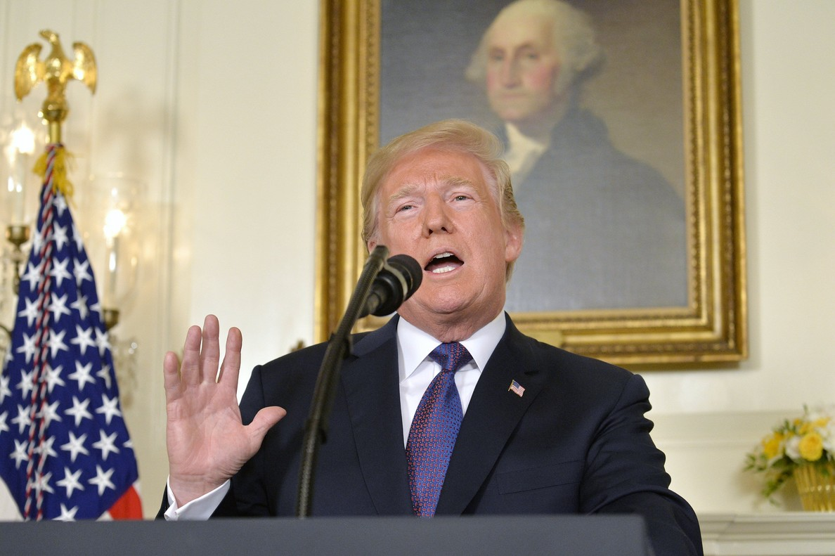 El presidente estadounidense Donald Trump anuncia el ataque conjunto de EEUU, Reino Unido y Francia a Siria.