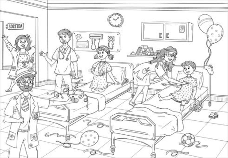 EL RECORRIDO1. Mireia Rom graba la visita de dos Pallapupas a un niño ingresado en el Hospital del Mar.2. Portada del libro para ilustrar que se repartirá en plantas de pediatría en el marco de la campaña 'Un gomet vermell'.3. Una de las láminas para ilustrar , que se pueden bajar de internet. 4. De izquieda a derecha los artífices el proyecto, Roger Cuartielles, Mireia Rom, Sergi Macià y Glòria Macià, con dos Pallapupas (en el centro).