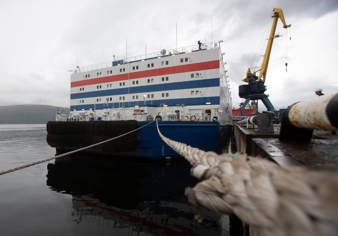 Russia's floating nuclear power plant Akademik Lomonosov is pictured during preparations for a 4,000-mile journey along the Northern Sea Route to Chukotka at state company Rosatomflot base in Murmansk, Russia August 22, 2019. REUTERS/Maxim Shemetov
