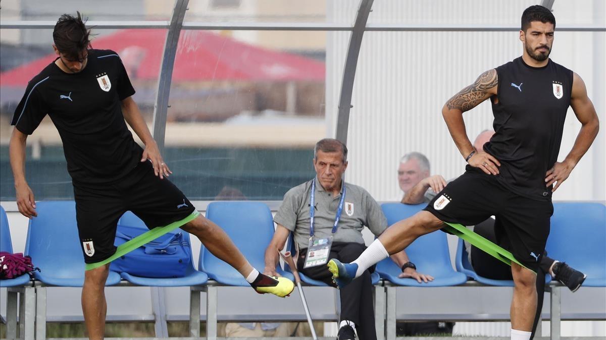 Tabárez observa el entrenamiento de la selección uruguaya en Sochi.