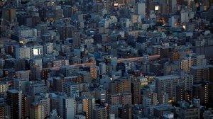 Una vista aérea de Tokyo, Japón.