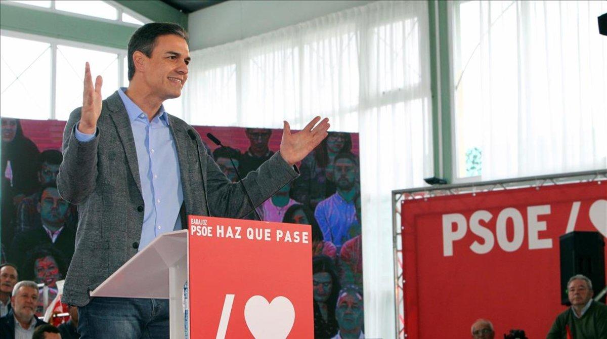 Pedro Sánchez, este miércoles en Badajoz.