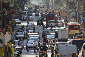 La Via Laietana de Barcelona.
