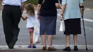 Pensionistas y jubilados en Barcelona.