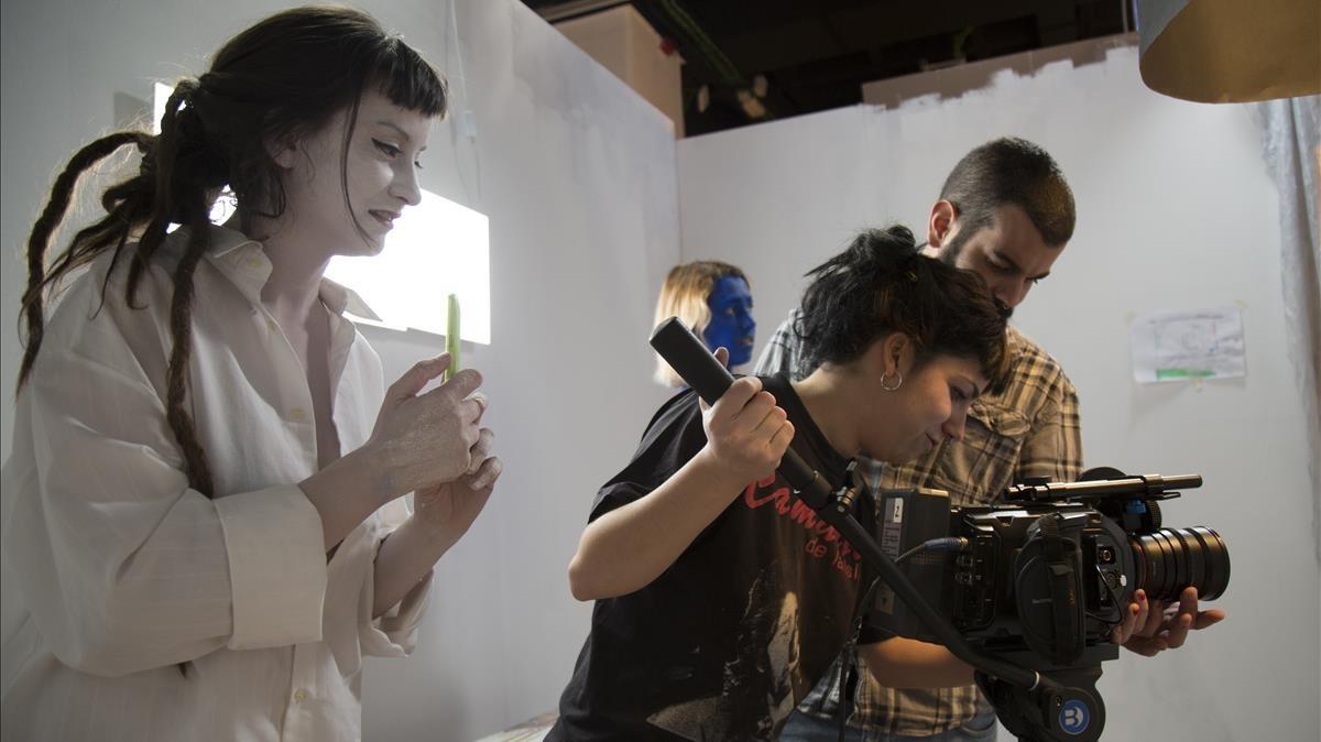 Cristina Díez-Madroñero, durante el rodaje de uno de sus cortometrajes.