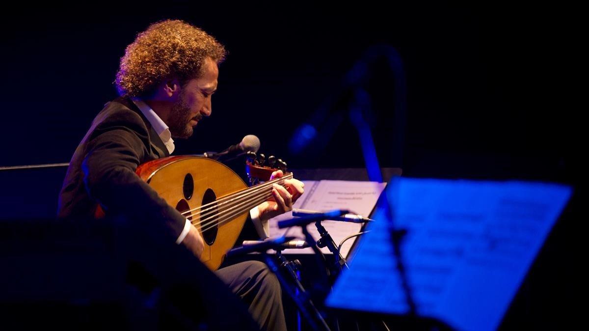 Naseer Shamma, durante el concierto de este domingo en el Liceu.