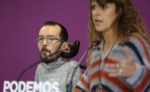 Rueda de prensa tras el Consejo de Coordinaciónde Podemos a cargo de sus portavoces, Pablo Echenique y Noelia Vera