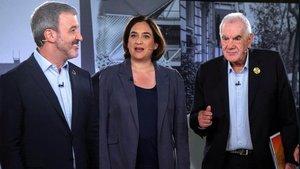 Jaume Collboni, Ada Colau y Ernest Maragall.