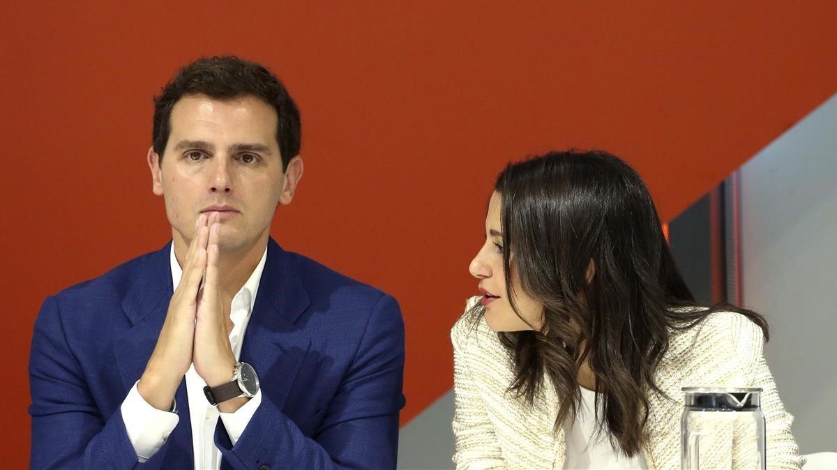 Albert Rivera e Inés Arrimadas, esta mañana, en el Comité Ejecutivo de Cs.