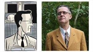 Una viñeta de Seth en 'Ventiladores Clyde' y el propio dibujante canadiense, este miércoles en Barcelona.