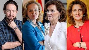 Pablo Iglesias, Nadia Calviño, Carmen Calvo y Teresa Ribera.