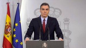 Pedro Sánchez durante la comparecencia para informar sobre el estado de alarma.