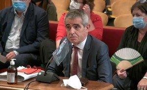El exletrado mayor del Parlament, Antonio Bayona, durante su declaración en el TSJC este miércoles.