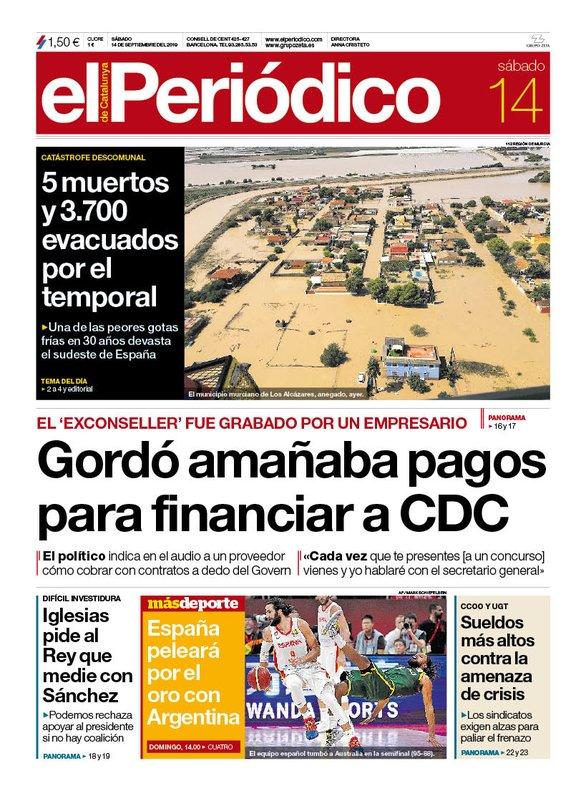 La portada d'EL PERIÓDICO del 14 de setembre del 2019