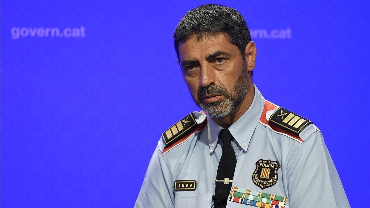 Josep Lluis Trapero, Mayor de los Mossos d?Esquadra, durante su comparecencia en ruada de prensa.