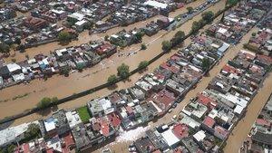 MORELIAMEXICO- Vista de una zona urbana afectada por las inundaciones debido a tormentas por el huracan Willaen Moreliaestado de MichoacanMexicoEFE Ivan Villanueva