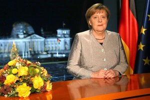 German Chancellor Angela Merkel during her New Year s speech at the Chancellery in Berlin  Germany  3said in her address that Germany would  take on more responsibility  internationally in 2019   Alemania  EFE EPA MIKA