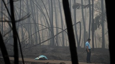 abertran38939657 a policeman stands by a dead body of a victim of a wildfire 170618115509