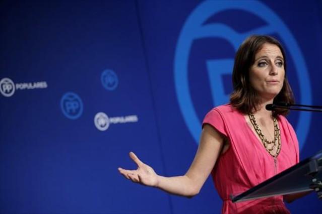 Andrea Levy, en una rueda de prensa en la sede del PP, en agosto.