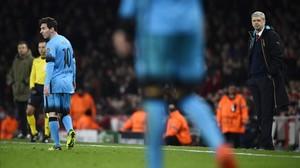 Arsène Wenger, en el partido de este martes entre el Arsenal y el Barça.