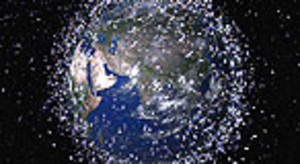 Simulación gráficade la chatarra espacial en nuestra atmósfera.