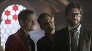 Berlín, Palermo y el Profesor en la tercera temporada de 'La casa de papel'.
