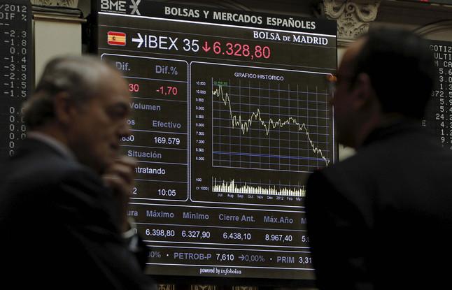 Inversores en el 'parquet' de la Bolsa de Madrid.