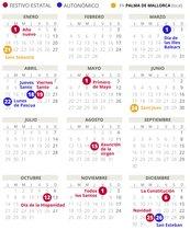 Calendario laboral de Palma (Mallorca) del 2019.