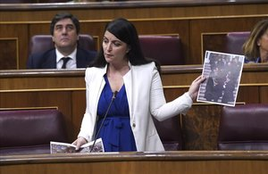 Sesion de Control al Gobierno esta mañana en el Congreso de los Diputados ,en la imagenla representate de Vox Macarena Olona.