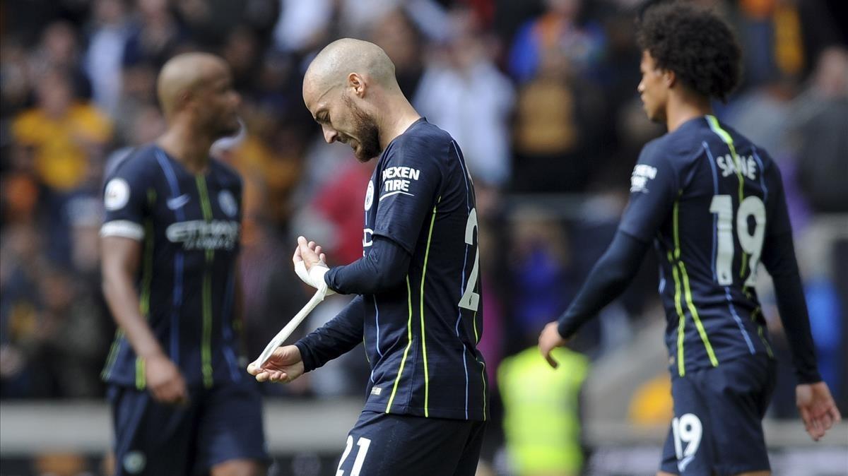David Silva y Sane, tras el partido ante el Wolverhampton.