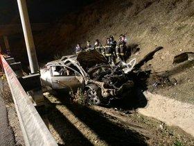 Imagen del estado en el que ha quedado el coche accidentado en la M-50, donde han fallecido tres jóvenes y otro ha resultado herido grave.