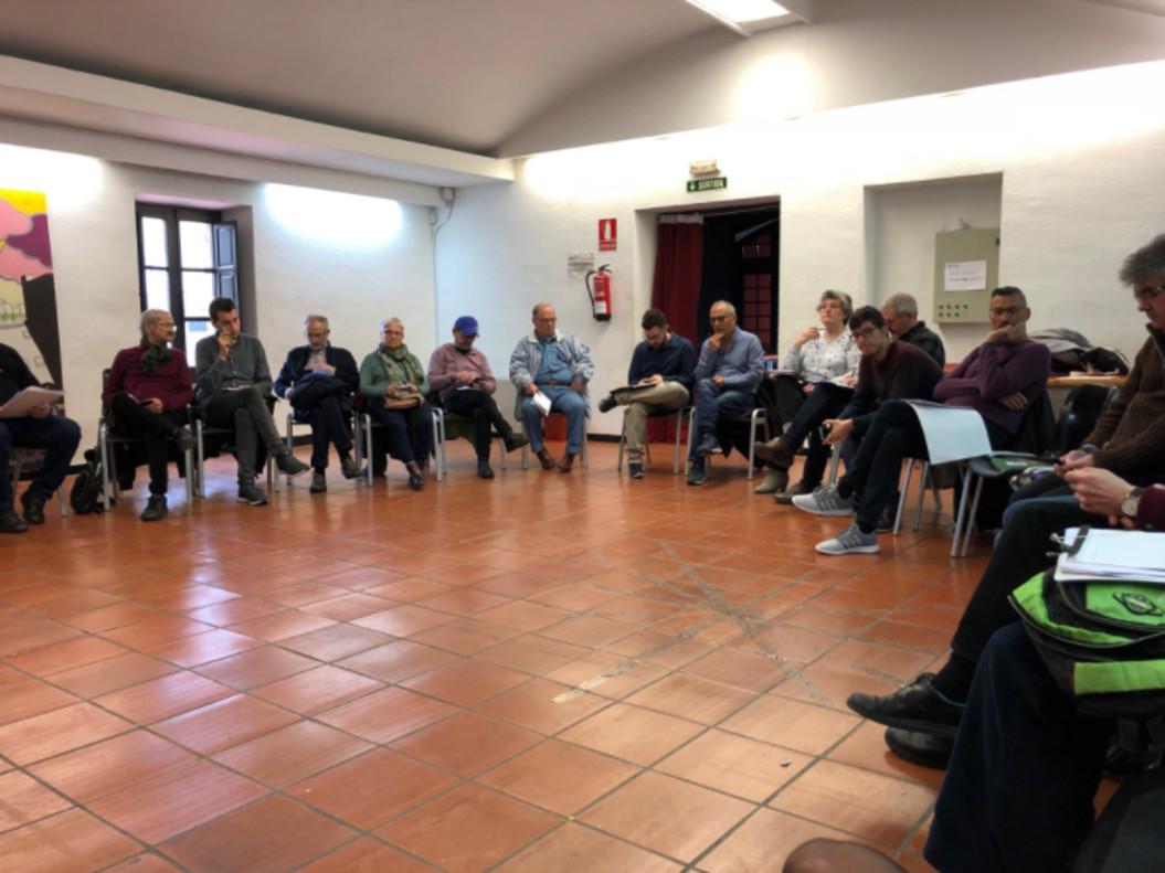 Encuentro de Catalunya en Comú en Santa Coloma de Gramenet.