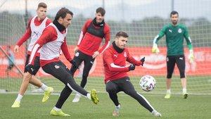 Un entrenamiento del Girona de esta semana.