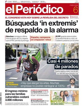 La portada d'EL PERIÓDICO del 6 de maig del 2020