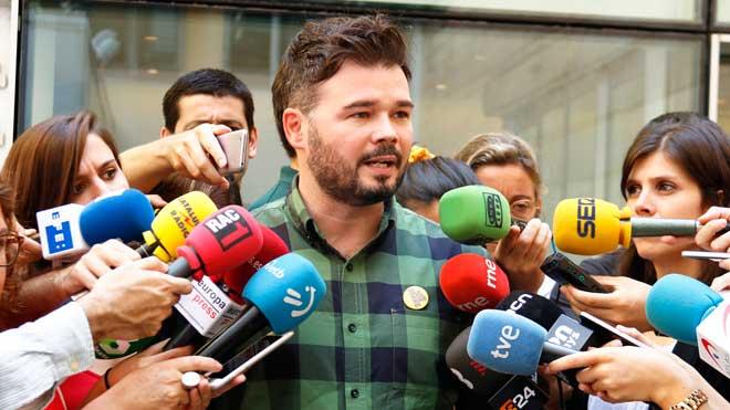 ERC mantiene la incógnita sobre el sentido del voto en la investidura. En la imagen, Gabriel Rufián.