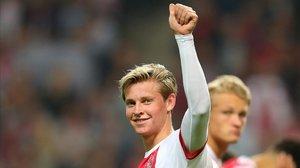 Frenkie de Jong, durante un partido de Champions entre el Ajax y el Manchester United.